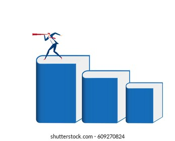 Businessman stand on book stairs using telescope looking for success, opportunities, future business trends. Stairs step made of books to success. Infographics template Cartoon Vector Illustration.