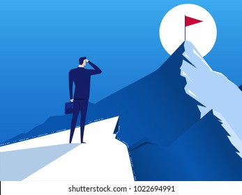Businessman stand on cliff direction looks at the flag of success on top of mountain, opportunities, future business trends. Vision concept. Cartoon Vector Illustration.