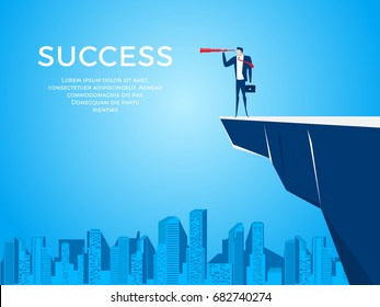 Businessman stand on cliff edge mountain using telescope looking for success, opportunities, future business trends. Vision concept. Cartoon Vector Illustration.