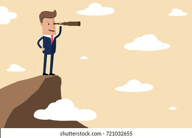 Businessman stand on cliff edge mountain using telescope looking for success, opportunities, future business trends. Vision concept. Vector Illustration