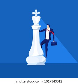 Businessman stand on king chess piece. Successful business strategy concept. Business fighting, strategy, competition, Leadership, concept. Cartoon Vector Illustration.