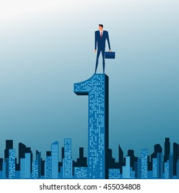 Businessman stand on top of building. City skyline. Success concept. Cartoon Vector Illustration.