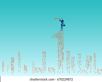 Businessman stand on top of building using telescope looking for success, opportunities, future business trends. Vision concept. Cartoon Vector Illustration.