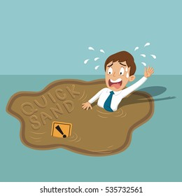 Businessman stand on word trap quicksand, vector illustration cartoon