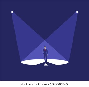 Businessman stand in spotlight, business concept of leadership. Vector illustration