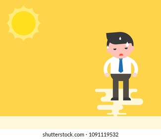 Businessman stand with sweats under the sun, hot weather and hight temperature concept