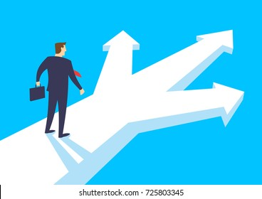Businessman stand and thinking at a crossroads, Selection the right solution, Business concept opportunities and options, Flat design vector illustration