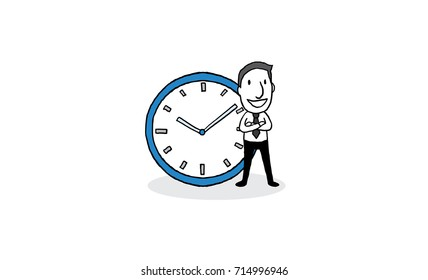businessman standing with big clock. time management concept. isolated vector illustration outline hand drawn doodle line art cartoon design character.