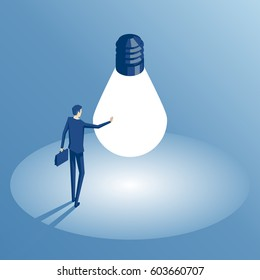 Businessman standing in a circle of light from a large light bulb as a symbol of new ideas. An employee found the idea and touched it isometric illustrations. Business concept