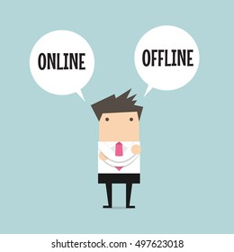 Businessman standing confuse to choose between two option online or offline. vector