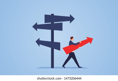 Businessman standing in the direction of the crossroads chose the direction