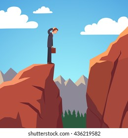 Businessman standing at the edge of mountain gap he need to traverse to get on top of the mountain. Risky obstacle on a stock market. Flat style vector illustration clipart.
