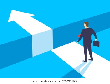 Businessman standing in front of chasm, Gap on way to success, Business concept of challenge problem solving and overcoming obstacles, Flat design vector illustration