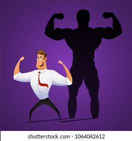 Businessman standing in front of his own muscular shadow showing his inner strength. Cartoon vector illustration