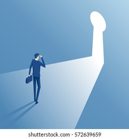 Businessman standing in front of a keyhole which has a bright light isometric illustration. Employee covers eyes from the light pouring from the keyhole. Business concept the solution to the problem