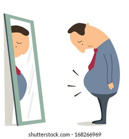 Businessman standing in front of mirror and see himself getting big belly. Oversized and obesity concept.