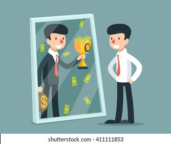Businessman standing in front mirror and see himself being successful. Business concept. Success reflection. Vector illustration