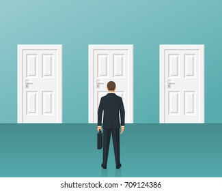 Businessman standing in front of three closed doors. Choice way concept. Decision business metaphor. Vector flat style design. Isolated on background. Human before choosing. Decide direction.