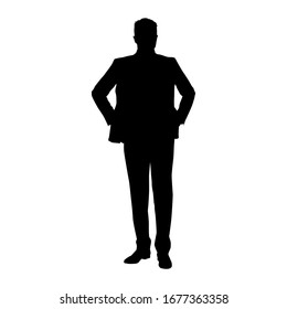 Businessman standing with hand on hips, front view isolated vector silhouette