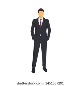 Businessman standing with hands in pockets. Abstract geometric vector illustration, front view. Flat design business people