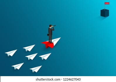 Businessman standing holding binocular on paper airplane go to flag red. on blue background. go to goal and business finance success. leadership. creative idea. cartoon vector illustration
