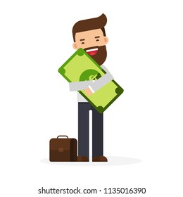 businessman standing holding and hugging in his arms big cash money pack bundle