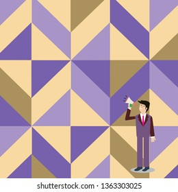 Businessman Standing, Holding and Talking on Megaphone with Sound Icon. Man in Suit Looking Up and Speaking on Loudhailer. Creative Background Idea for Announcements and Advisory.