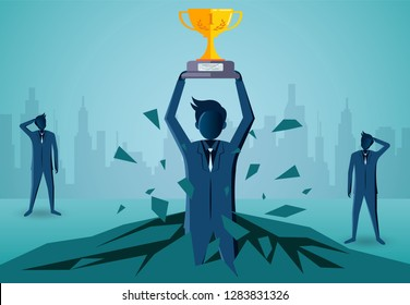 Businessman standing holding a winner trophy over his head fling out of the floor. leadership. startup. creative idea. illustration cartoon vector