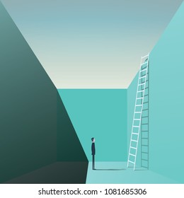 Businessman standing in a hole with ladder. Business vector concept of solution, challenge, opportunity. Eps10 vector illustration.