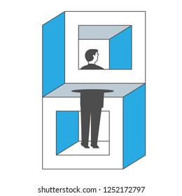 Businessman Standing in impossible object and looking out.