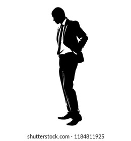 Businessman standing and looking down, isolated vector drawing. Sad or stressed manager in suit