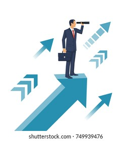 Businessman standing on arrow with telescope in hand. Vision business concept. Looking in future. Vector illustration flat design. Isolated on background. Search solution.