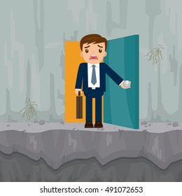Businessman standing on cliff concept of business crisis, vector illustration cartoon