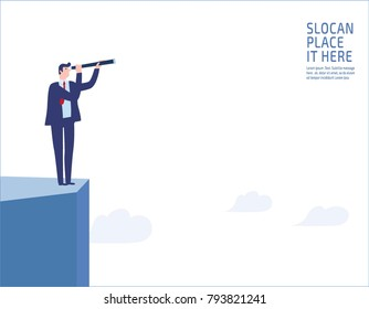 Businessman standing on a cliff. looking through monocular into the future business vision and visionary people business concept  vector flat design illustration banner brochure isolated background