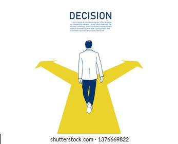 Businessman standing on the crossroads with two arrows and directions, Business decision concept, hand drawn style vector doodle design illustrations. - Vector