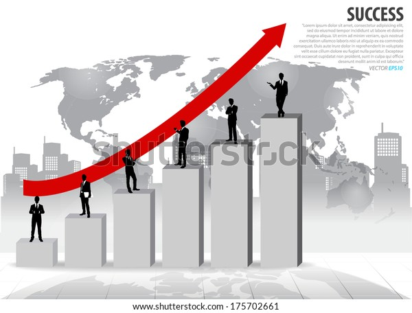 Businessman Standing On Graph Vector Illustration Stock