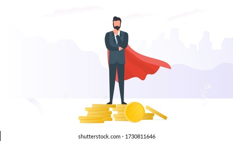 A businessman standing on a mountain of coins. Business profitability concept. Businessman stands on a mountain of gold coins. Vector.