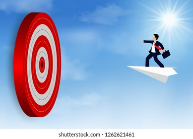 Businessman standing on a paper plane fling go to target Circle red. Business success goal. on background sky. creative idea. leadership. cartoon vector illustration