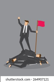 Businessman standing on a pile of dead bodies and holding a flag and fist up in air in victory. Conceptual vector illustration for rising to the top by being ruthless isolated on grey background.
