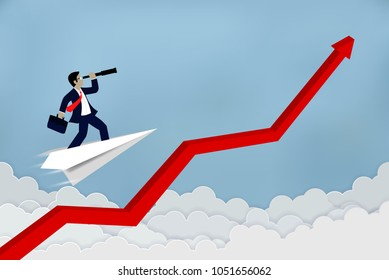 Businessman standing on a plane paper  to  looking with the binoculars growth modern ideas Follow the arrow go path to goal, concept Vector illustration
