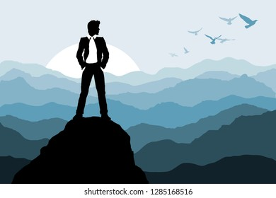 Businessman standing on the rock on nature background Silhouette Vector illustration