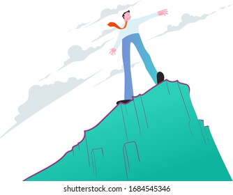 Businessman standing on steep cliff. Victory conquering challenge. Business  concept.
