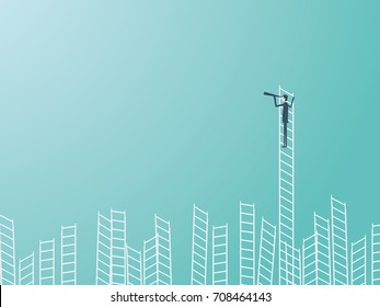 Businessman standing on top of a ladder with a telescope or monocular. Business leadership or visionary vector concept. Eps10 vector illustration.