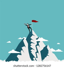 Businessman standing on top of the mountain using telescope looking for success, Concept business vistion, Illustration vector flat