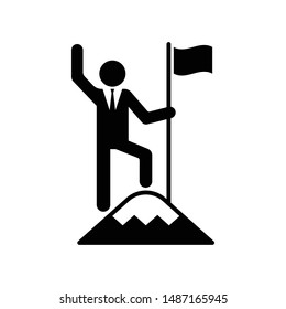 Businessman standing on the top of mountain holding a flag, Business concept of victory and success, Icon design vector illustration