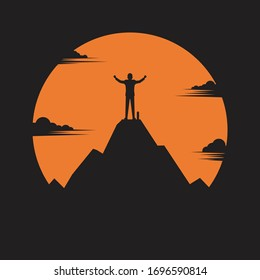 Businessman standing on top of the mountain, silhouette business, success concept, freedom, vector illustration flat style