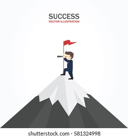 Businessman standing on top of a mountain with a flag and looking into the telescope. Success Concept.