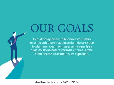 Businessman standing on top of a mountain presenting his goals. Web page layout