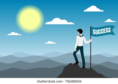 Businessman standing on the top of the mountain with success flag.