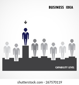 Businessman standing out from the crowd. Business  idea, capability and leadership concept. Vector illustration